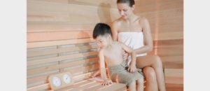 TOLO sauna room with real usage scenario kid