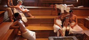 people gathering in sauna room